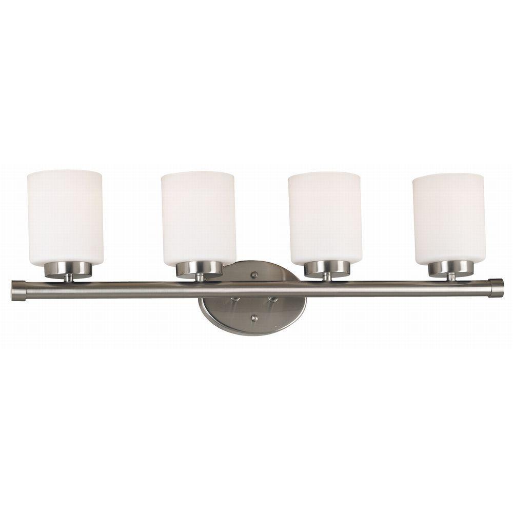Mezzanine 4-Light Brushed Steel Wall Vanity Light