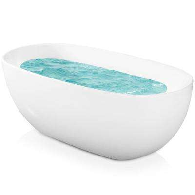 5.58 ft. Acrylic Center Drain Oval Double Ended Flatbottom Freestanding Bathtub in White