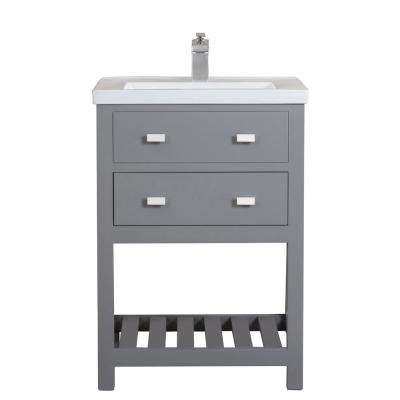 VIOLA 24 in. W Bath Vanity in Cashmere Grey with Ceramic Vanity Top in White with Integrated White Basin