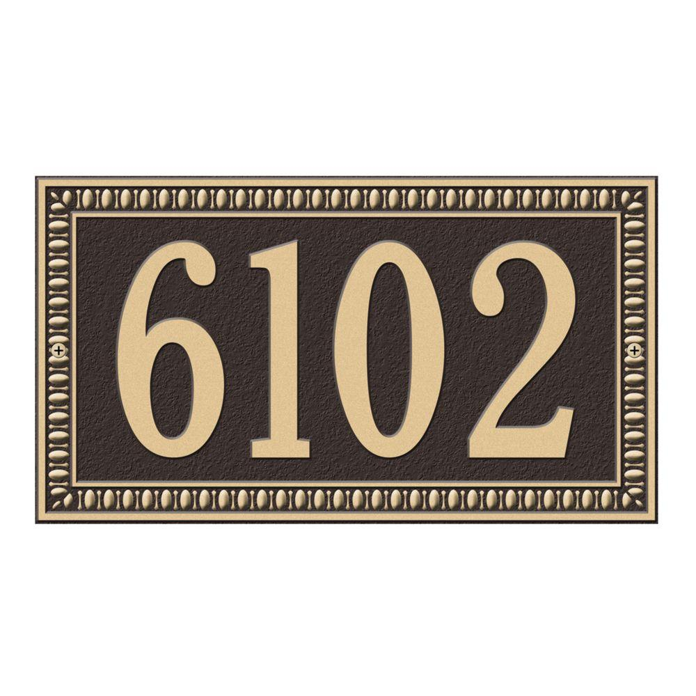 Egg and Dart Rectangular Bronze/Gold Standard Wall One Line Address Plaque