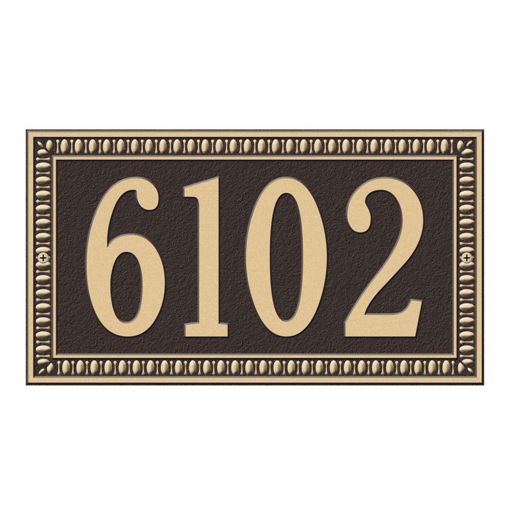 Egg and Dart Rectangular Bronze/Gold Standard Wall One Line Address Plaque