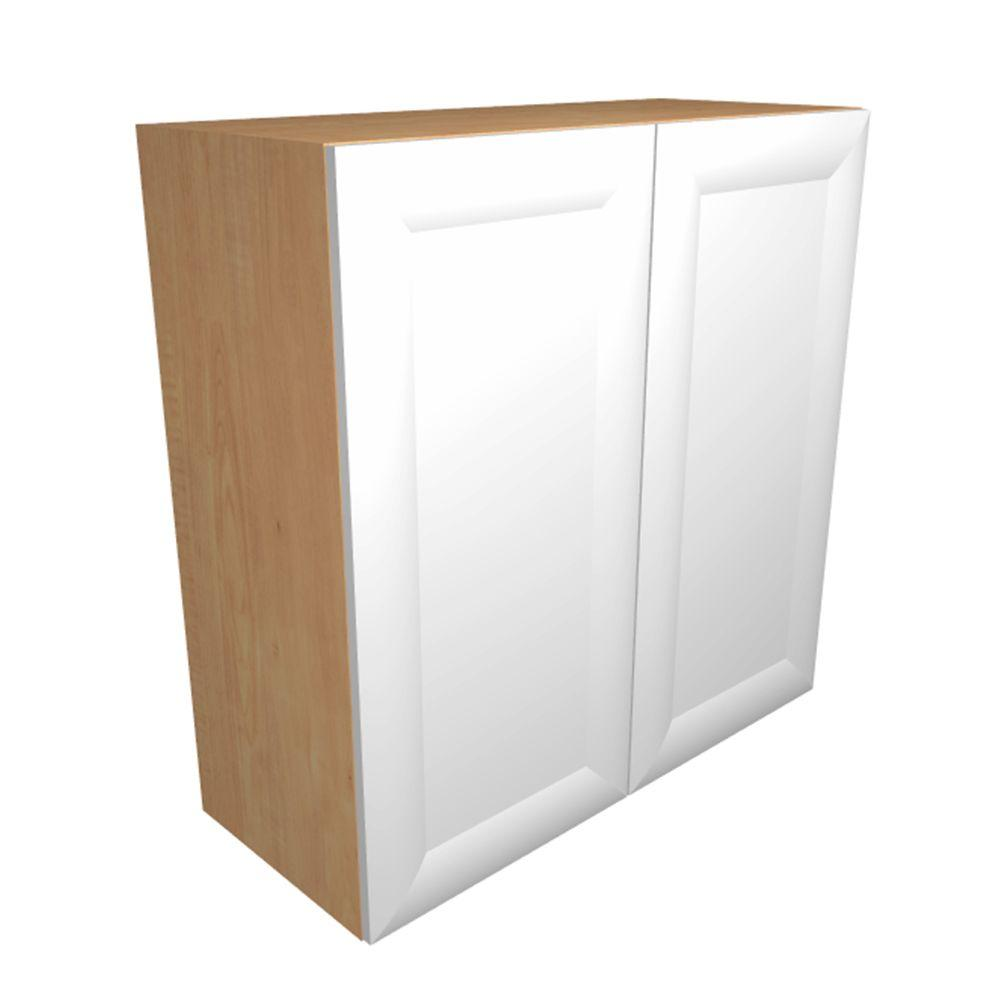 Home Decorators Collection Dolomiti Ready To Assemble 24x30x12 In Wall Cabinet With Frosted Pull Down Shelves And 2 Close Doors In Bianco White