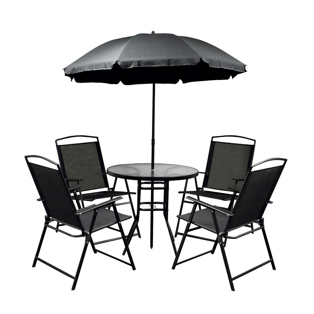 Black 6 Piece Metal Patio Conversation Set