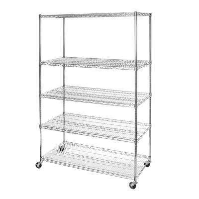 24 in. D x 48 in. W x 72 in. H 5-Tier Ultra Zinc NSF Steel Wire Storage Shelving Unit with Wheels