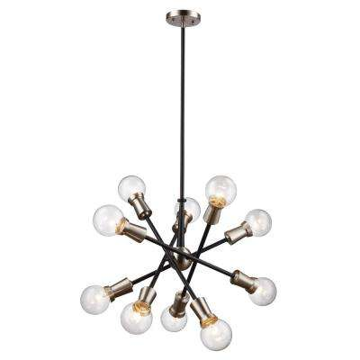 Zody 10-Light Black and Brushed Nickel Pendant