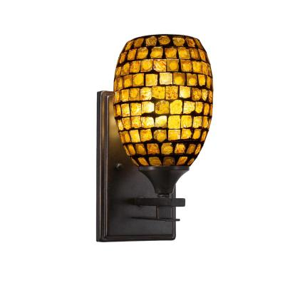 6 in. Dark Granite Sconce with 5 in. Copper Mosaic Glass