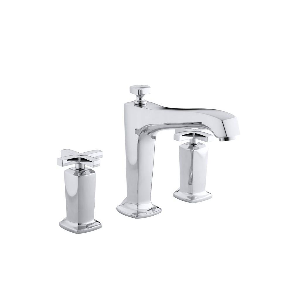 Margaux 2-Handle Deck-Mount High-Flow Bath Faucet Trim with Cross Handles in