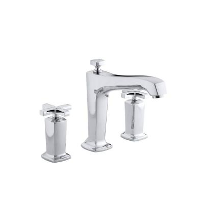 Margaux 2-Handle Deck-Mount High-Flow Bath Faucet Trim with Cross Handles in Polished Chrome (Valve Not Included)