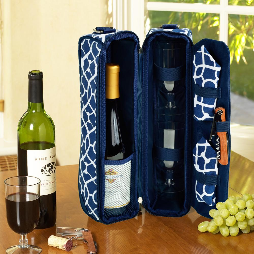 Sunset Trellis Blue Collection Wine Tote for 2 with Glasses