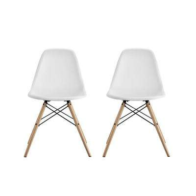 Moorea White Mid Century Modern Molded Chair With Wood Leg (Set Of 2)