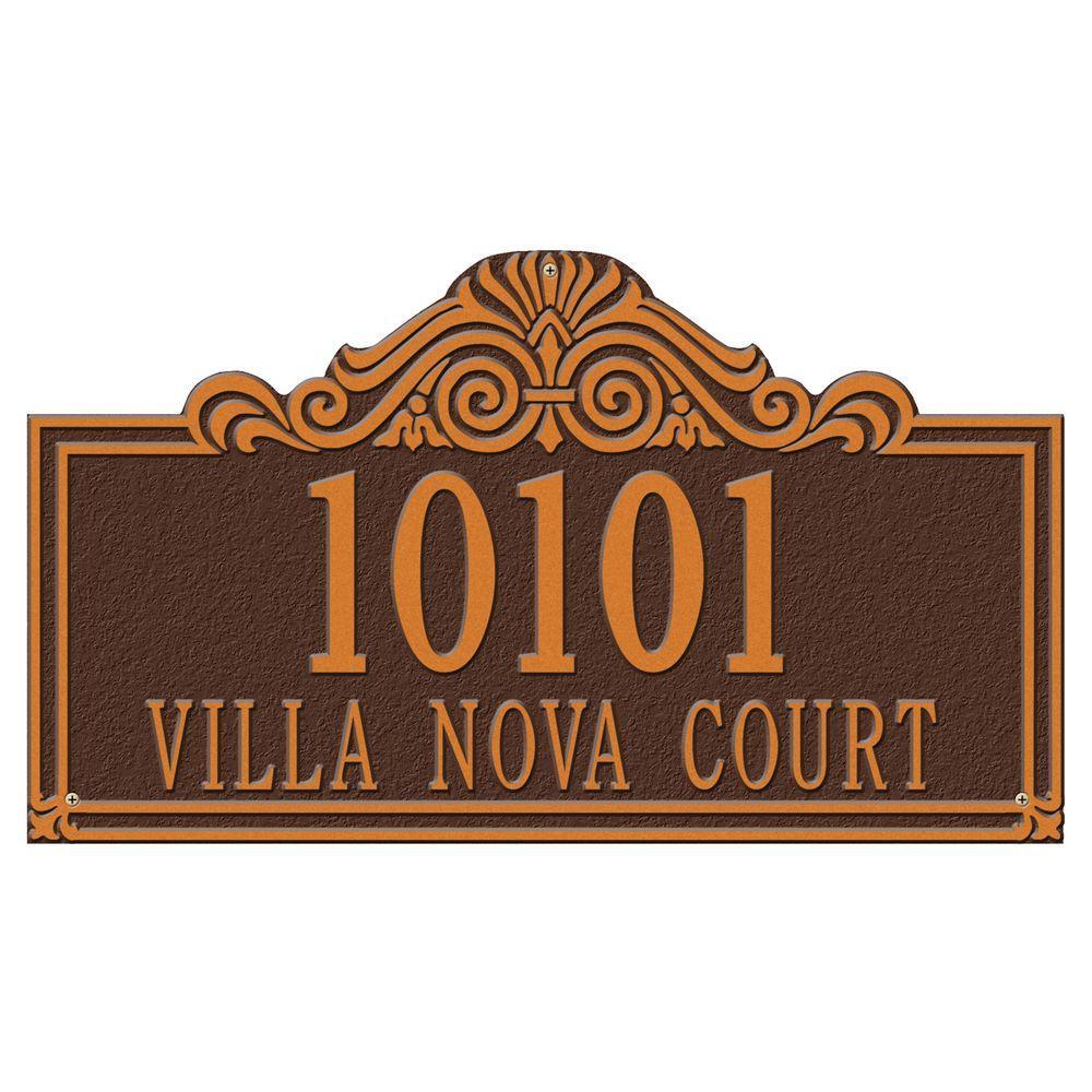 Whitehall Products Villa Nova Rectangular Antique Copper Estate Wall Two Line Address Plaque
