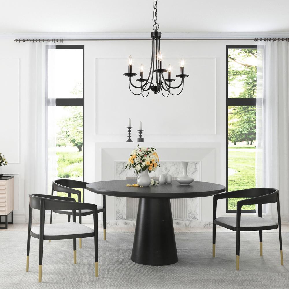 Lnc Modern Black Chandelier 5 Light, Farmhouse Dining Room Chandelier Black