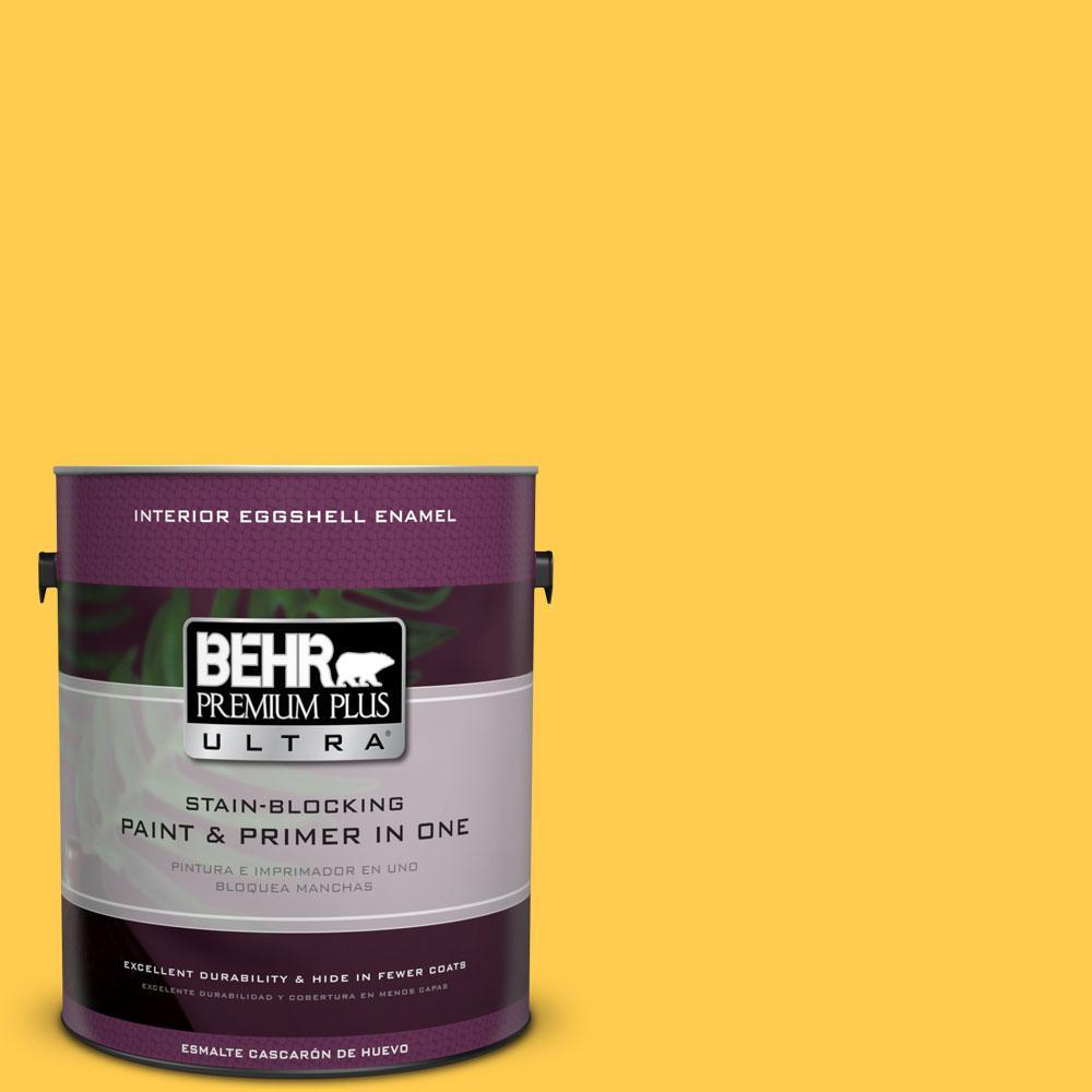 BEHR Premium Plus Ultra 1-gal. #340B-6 Pineapple Soda Eggshell Enamel Interior Paint