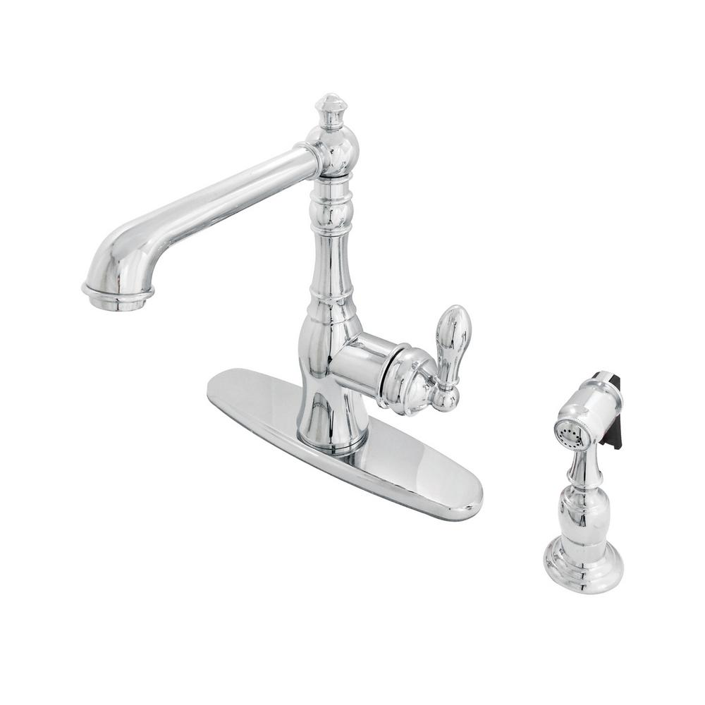 American Classic Single-Handle Standard Kitchen Faucet with Side Sprayer in