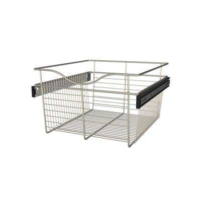 18 in. x 11 in. Satin Nickel Closet Pull-Out Basket