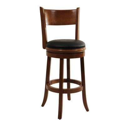 Palmetto 29 in. Fruitwood Swivel Cushioned Bar Stool