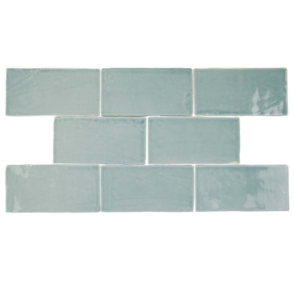 Aqua subway tile