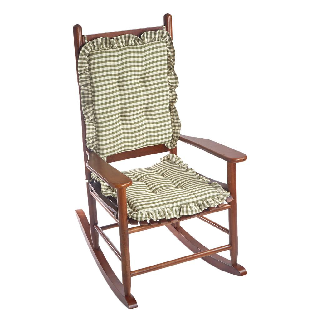 Elegant Gingham Ruffle Pine Rectangular Delightfill Rocking Chair Cushion  Set 338229 92   The Home Depot