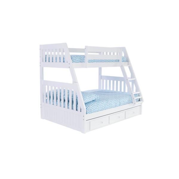 White Twin over Full Solid Pine with 3 - Drawers Underneath Bunk bed