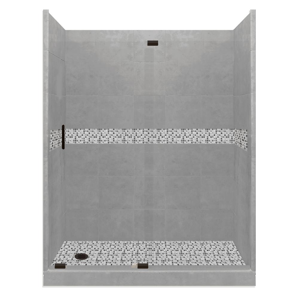 Del Mar Grand Slider 42 in. x 60 in. x 80 in. Left-Drain Alcove Shower Kit in Wet Cement and Black Pipe Hardware