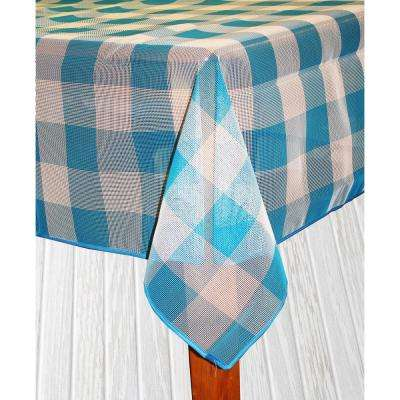 Bistro Check 52 in. x 70 in. Blue Vinyl and Poly Tablecloth