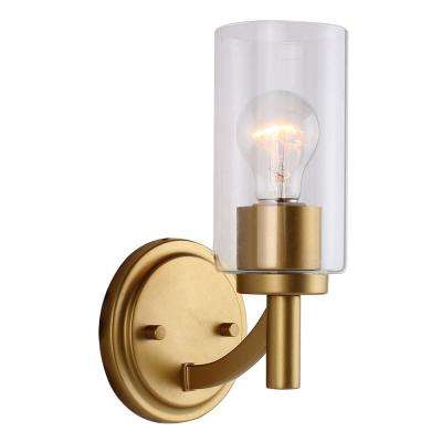 Devora 1-Light Antique Gold and Clear Class Wall Sconce