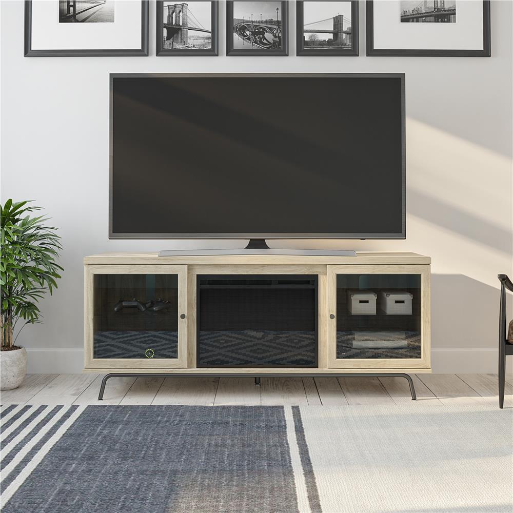 Flicker 64.76 in. Freestanding Electric Fireplace TV Stand in Blonde Oak