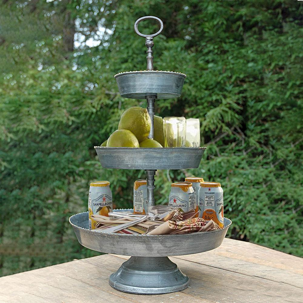Silver Galvanized 3-Tier Studded Metal Tray