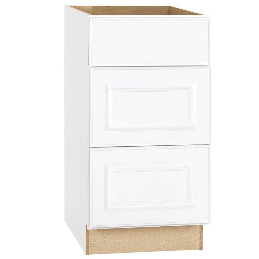 Hampton Bay Hampton Assembled 18x34.5x24 in. Drawer Base Kitchen Cabinet with Ball-Bearing Drawer Glides in Satin White
