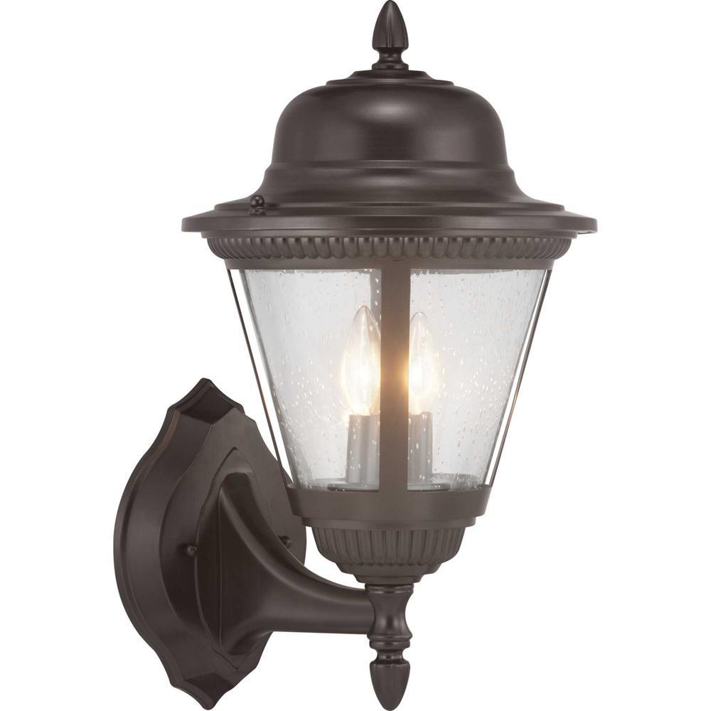 Progress Lighting Westport Collection 2-Light Antique Bronze Wall Lantern Sconce