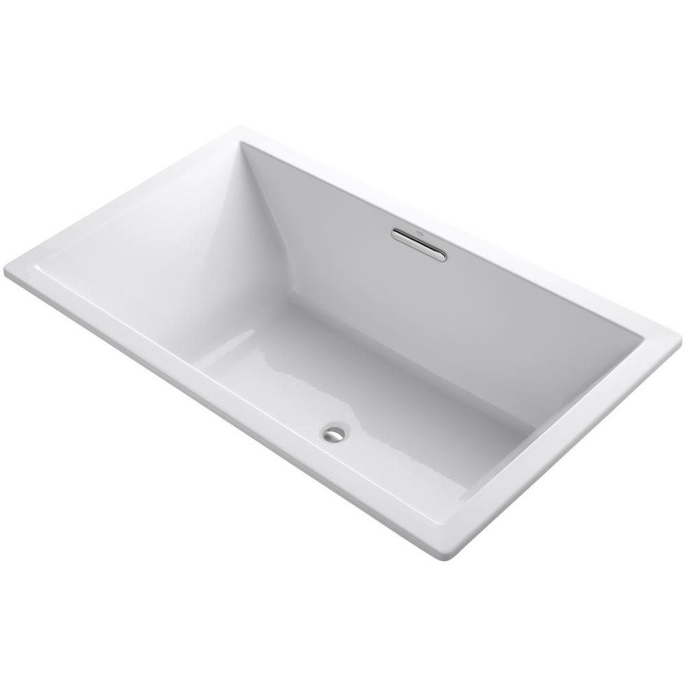 Kohler Underscore 6 Ft Rectangular Drop In Center Drain Soaking Tub White