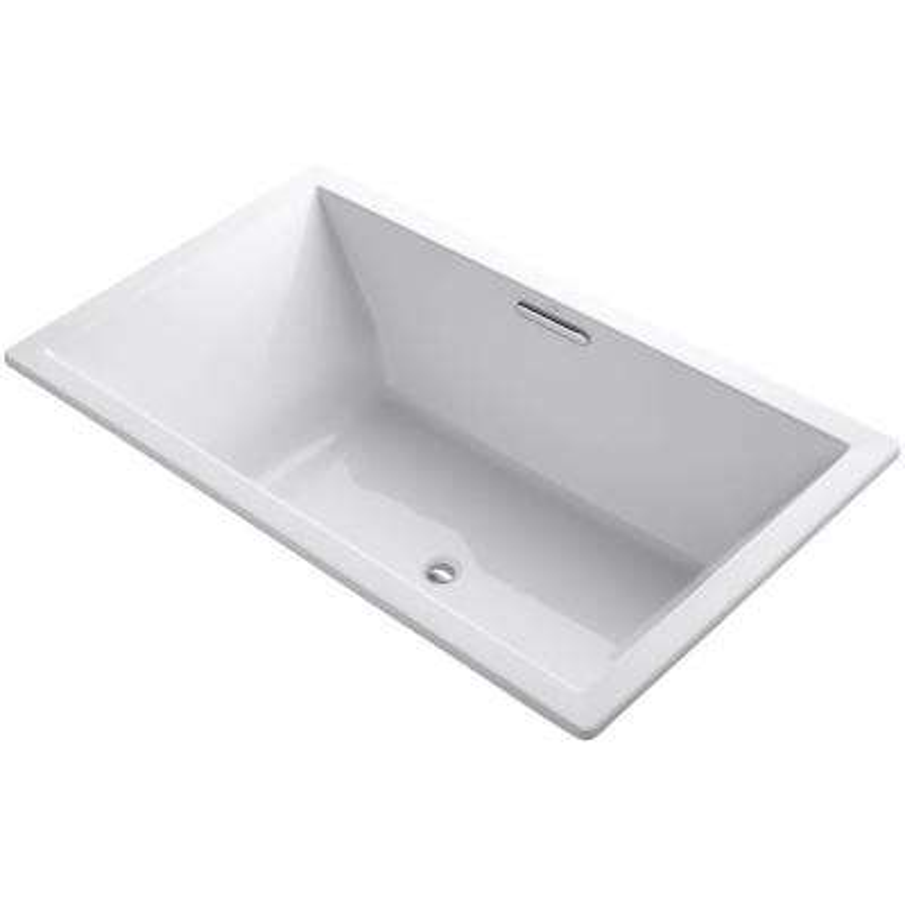 Underscore 6 ft. Rectangular Drop-in Center Drain Soaking Tub in White