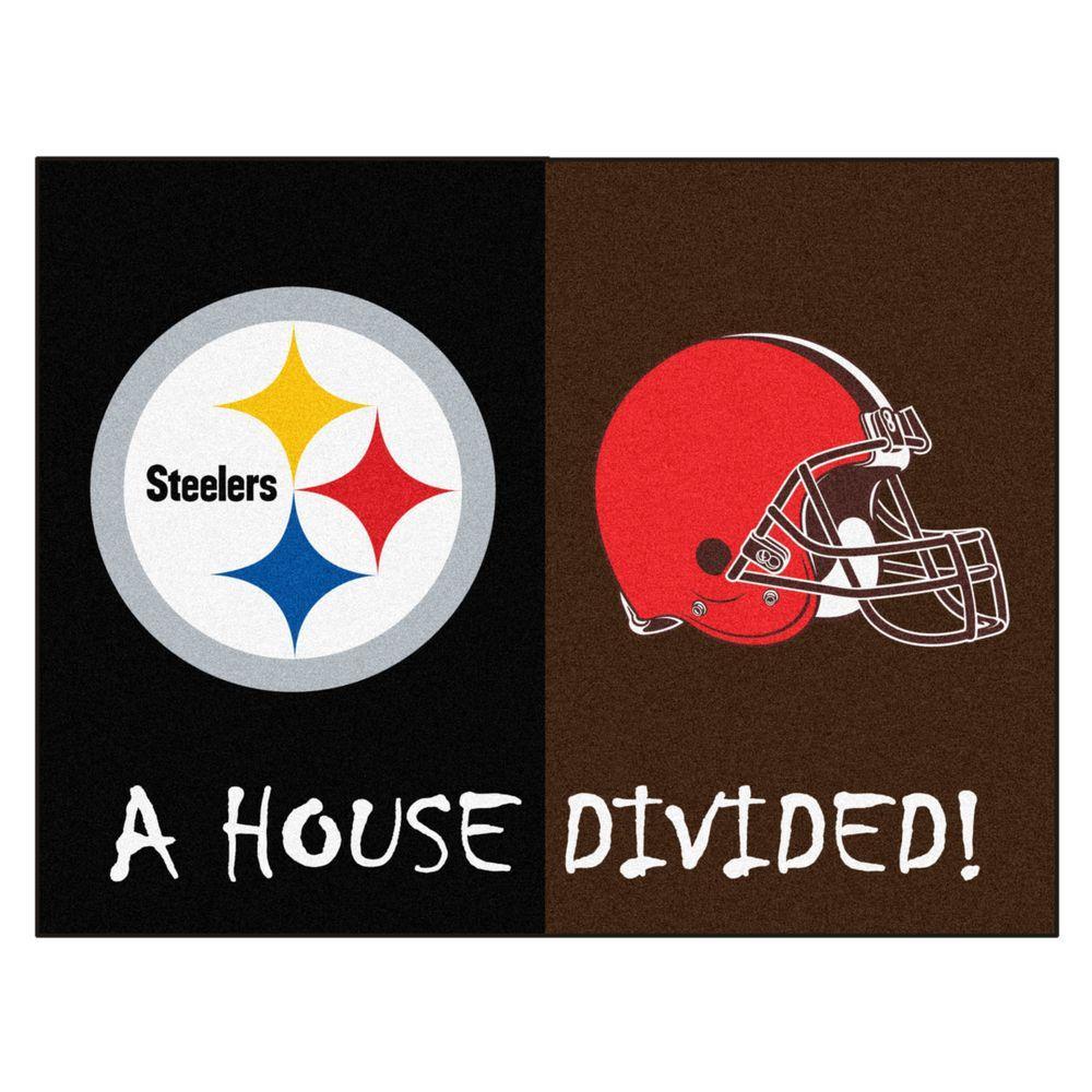 NFL Steelers / Browns Black House Divided 3 ft. x 4 ft. Area Rug