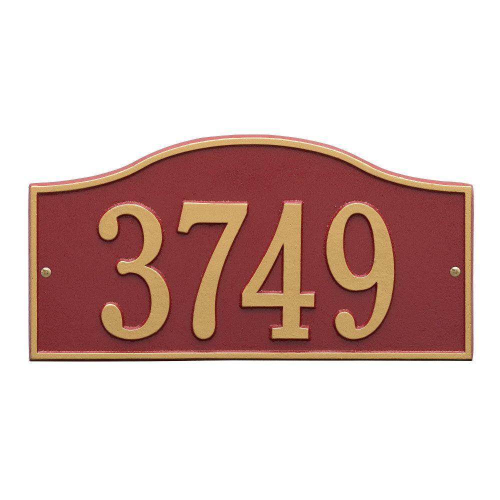 Rolling Hills Rectangular Red/Gold Standard Wall One Line Address Plaque