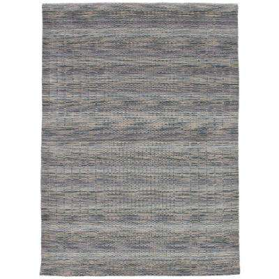 Luribaft Gabbeh Riz Grey, Khaki 5 ft. x 8 ft. Indoor Area Rug