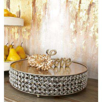 Silver Iron Round Cake Stands with Round Crystal Beads Edge Detailing and Ball Feet (Set of 3)