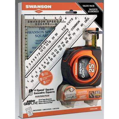 Speed Square and Gripline 25 ft. Tape Measure Bundle