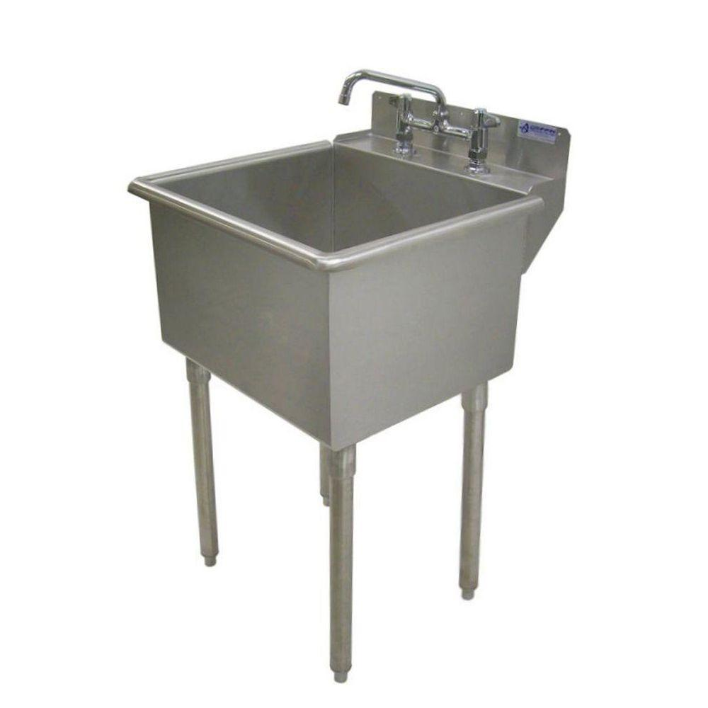 Marvelous LT Series 24x24 Stainless Steel Freestanding 2 Hole Laundry Sink