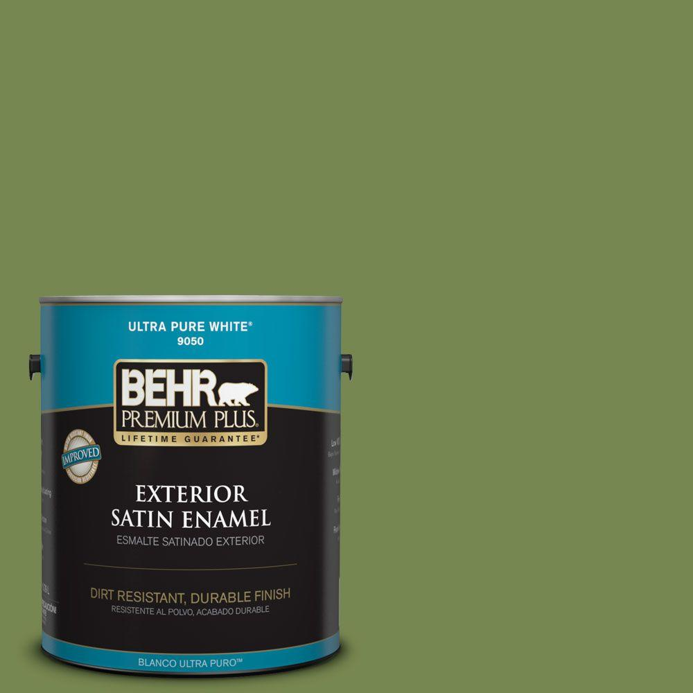 1-gal. #HDC-SM14-2 Green Suede Satin Enamel Exterior Paint
