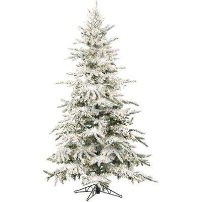 9 ft. Pre-lit LED Flocked Mountain Pine Artificial Christmas Tree with 800 Clear String Lights