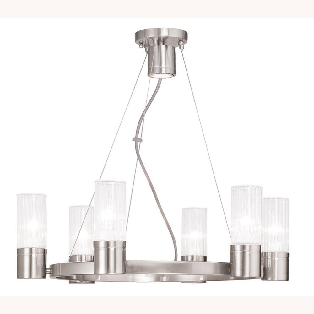 Livex Lighting Midtown 7-Light Brushed Nickel Chandelier with Hand Crafted Clear Fluted Glass Shades