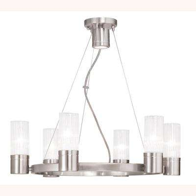Midtown 7-Light Brushed Nickel Chandelier with Hand Crafted Clear Fluted Glass Shades