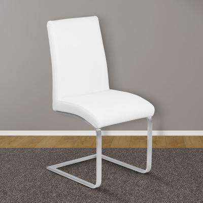 Blanca 39 in. White Faux Leather and Brushed Stainless Steel Finish Contemporary Dining Chair (Set of 2)