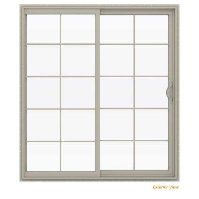 72 in. x 80 in. V-2500 Desert Sand Vinyl Right-Hand 10 Lite Sliding Patio Door
