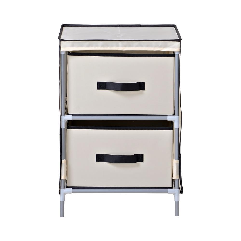 15 in. W x 22 in. H x 15 in. D Beige with Black Fabric 2-Drawer Dresser