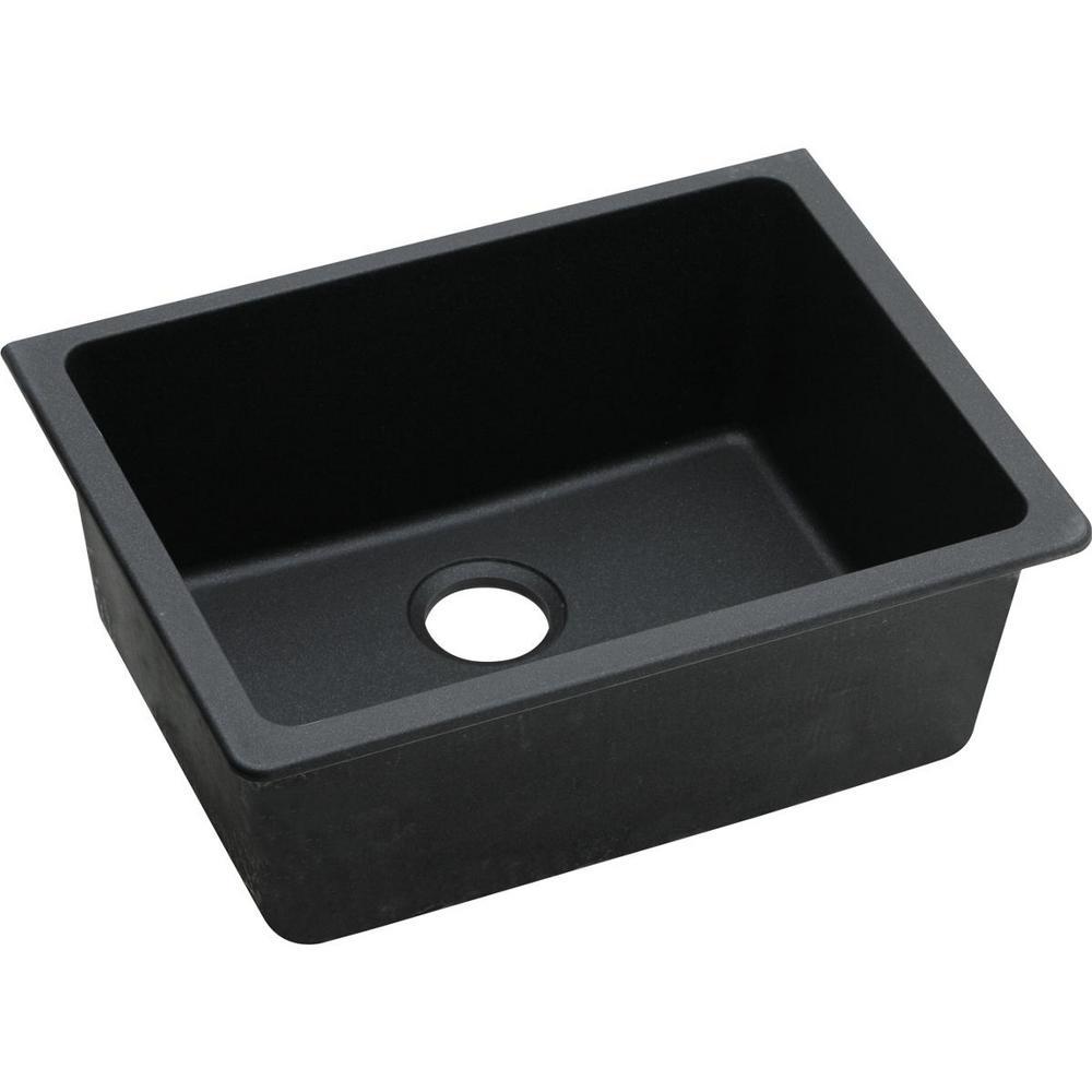 Quartz Classic Undermount 25 in. Single Bowl Kitchen Sink in Black