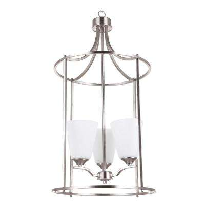 Seattle Collection 3-Light Satin Nickel Chandelier Opal Glass Shades 3 Bulbs