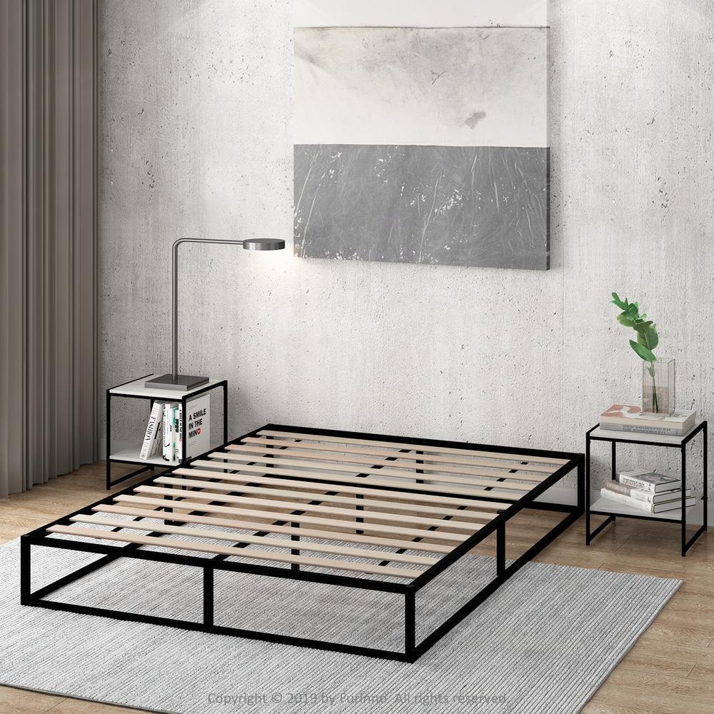 Angeland Monaco Full Wood Slats Metal Bed Frame Foundation