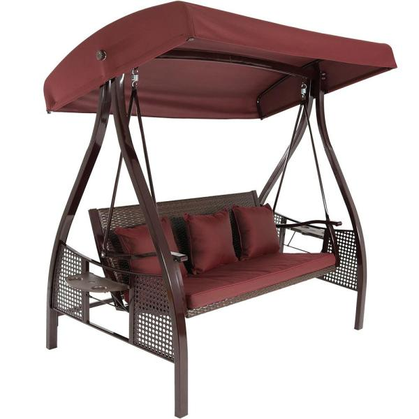 Deluxe Steel Frame Porch Swing with Maroon Cushion, Canopy and Side Tables