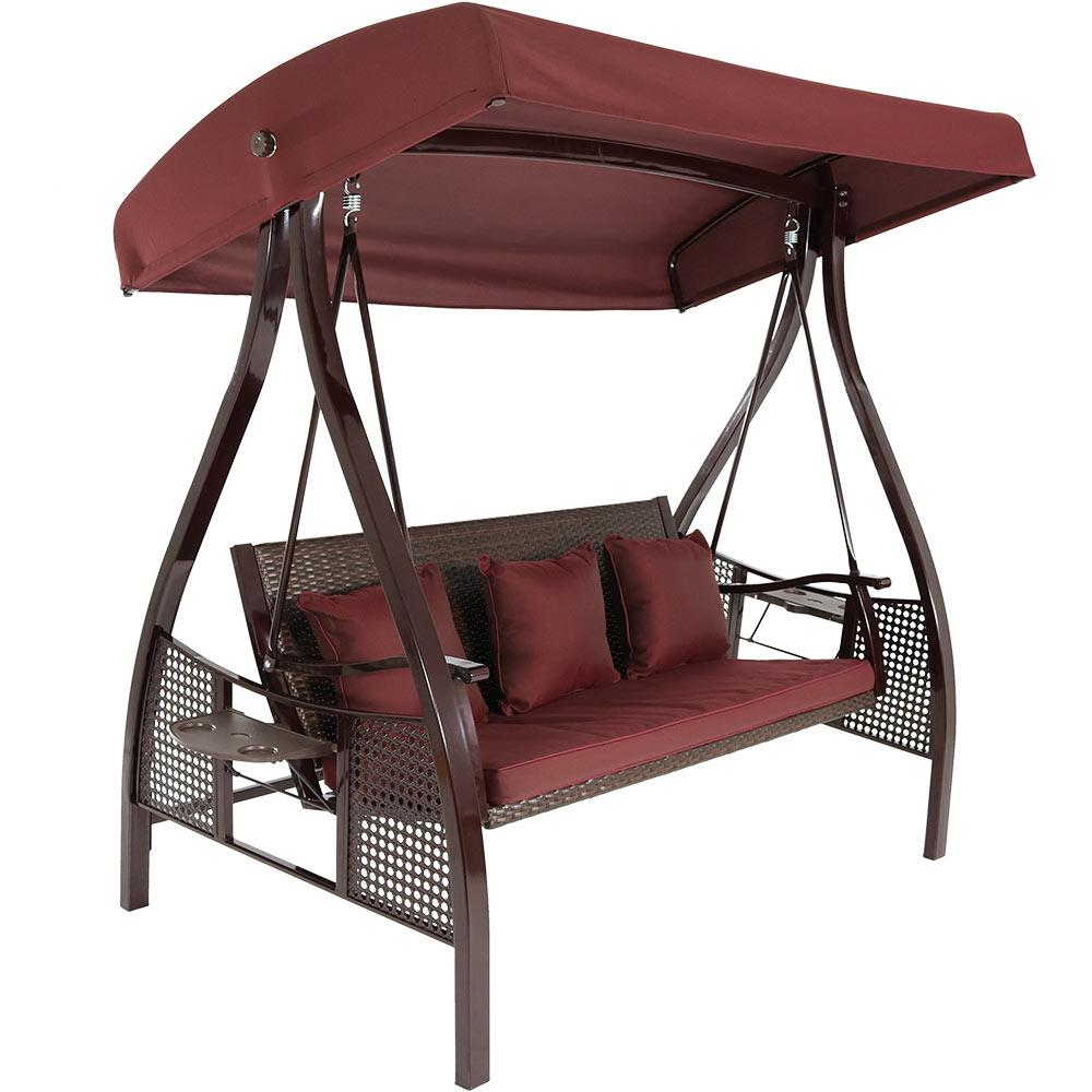 Sunnydaze Decor Deluxe Steel Frame Porch Swing with Maroon Cushion, Canopy and Side Tables